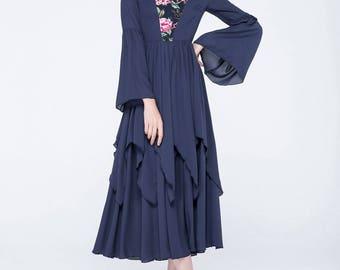 blue chiffon dress, flower printed dress, tiered dress, halter dress, long sleeves dress, prom dress, wedding dress, designers clothing 1750