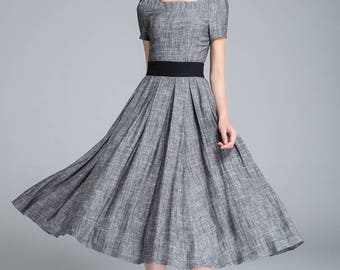 grey dress, linen dress, fit and flare dress, pleated dress, ladies dress, party dress, square neck dress, classic dress, summer dress 1762