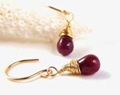 Madagascar Ruby Earrings Wrapped in 14k Gold Fill - Gemstone Earrings - Handmade - AdoniaJewelry