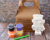 DIY Robot Paint Kit Kids Craft Kit Paint Your Own Robot STOCKING STUFFER