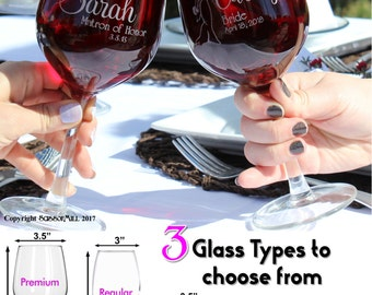 Personalized Wedding Glasses Bride Glass Bridesmaid Wine Glass Personalized Gifts for Bridesmaids Wedding Wine Glasses Bridal Party Glasses
