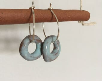 Handmade ceramic earrings, robins egg blue