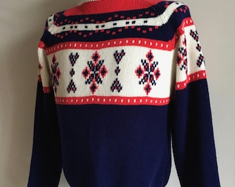 Vintage Men's 80's Ski Sweater, Snowflake, Acrylic, Long Sleeve by JC Penney (M/L)