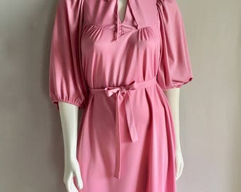 Vintage Women's 70's Pink Dress, Polyester, 3/4 Sleeve by Terri Junior (M)