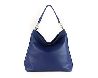 Leather shoulder bag, leather purse, leather duffle bag - ALICE BLUE