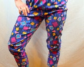 Vintage 80s Geometric Rainbow Hammer Time Harem Baggy Summer Pants