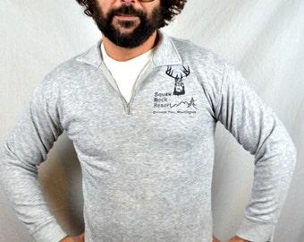Vintage 1980s  Soft Gray Comfy Sweatshirt - Squaw Rock Resort - Chinook Pass Washington