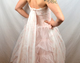 Vintage 50s 1950s Pink Tulle Bombshell Party Prom Formal Dress