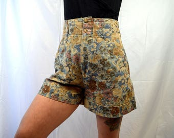 Vintage 80s 90s Floral High Waisted Linen Summer Shorts