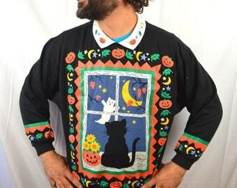 Vintage 80s Puffy WEIRD Halloween Sweatshirt - Spumoni