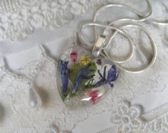 Blue Lobelia,Veronica,Queen Anne's Lace,Snowball Bush,Alyssum,Pink Heather,Ferns Pressed Flower Glass Heart Pendant-Symbolizes Loyalty,Peace