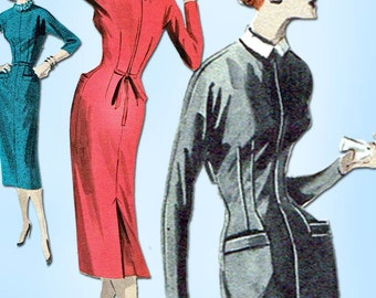 1950s Vintage Butterick Sewing Pattern 7809 Misses Wiggle Dress Size 13 31 Bust