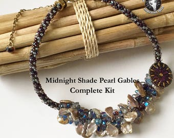 Midnight Shade Pearl Gables Beaded Kumihimo Necklace Kit, Fully Beaded Kumihimo Necklace Kit,  Free Canvas Tote Too!