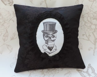 Gothic steampunk Mr skull victorian cameo pillow cushion black floral damask macabre halloween decor