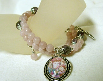 Lavender jade and amethyst rosary wrap bracelet with Our Lady of Częstochowa, patroness of Poland - WB01-459