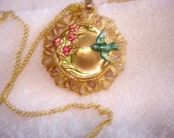 Flower Bird  Pendant Gold Green Red
