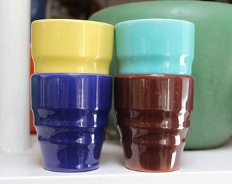 GMB Franciscan Pottery 4 Juice Tumblers El Patio Gladding McBean California VINTAGE by Plantdreaming