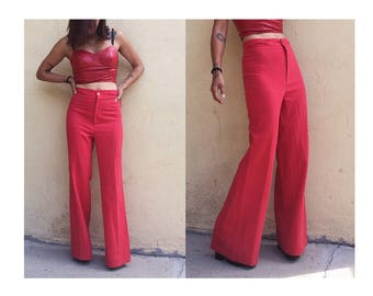 "Vintage 27"" 70's high waisted bell bottom flare wide leg palazzo cotton pants braid"