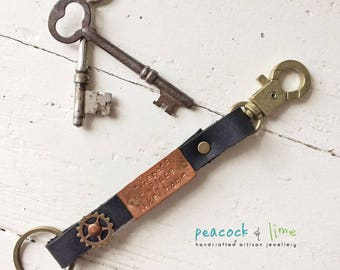 there's no place like home handstamped quote keychain fob // steampunk leather copper & brass metal key ring // original handmade
