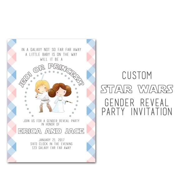 Star Wars Gender Reveal Baby Shower Invitation Custom Baby Boy