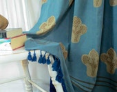 SAMPLE SALE boho chic curtains teal window curtain floral window treatment block print cotton home and living housewares - 1 panel - Kalam