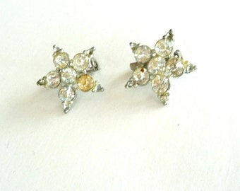 Star Brooches - 5 Point - Rhinestones - 1940s - Vintage - Sparkly - Art Deco Style - Bridal - Bride - Clasp Back - Recycled - Eco Friendly