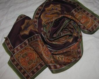 Vintage Oscar de la Renta Rectangular Silk Scarf - Dark Colourway, Paisley Elements - Maroon, Deep Yellow, Green Colours