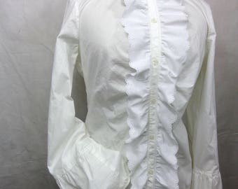 White, Size Small S, Misses Long Sleeve, Button Front, Ruffle Eyelet Lace Collar, Balloon Sleeve Blouse / Top / Shirt