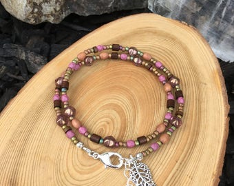 Rose Pink Bohemian Wrap Bracelet- Beaded Wrap- Charm- Bohemian Boho Hippie- Bangle- Cuff- Multi Strand- Stacking-Natural-Wooden- Gemstone