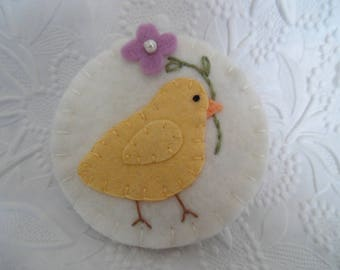 Felt Brooch Bird Chick Pin Primitive Flower Purple