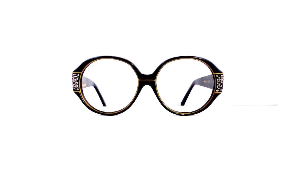 adcb04fa36 90s France Look Large Round Eyeglasses Women s Vintage 1990 s Mod Black  with Gold Detail   Jewels
