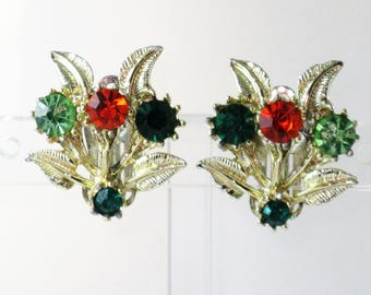 Vintage Gold Tone Orange and Green Rhinestone Floral Bouquet Clip Earrings  (E-1-7)