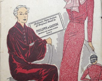 RARE 1930s Dress Pattern Designer Phillipe & Gaston 40 bust Peasant Sleeves Gown Belted NRA Jabot Plus Size XL