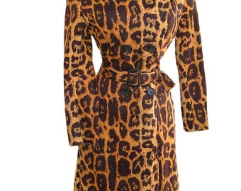 Vintage 60s Raincheetahs Rain Coat Spy Trench Double Breasted Leopard Animal Print 1960s Bond Girl Belted