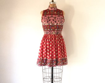 1960s Dress Mod Vintage Mini Dress Red Pink Psychedelic Floral Print Sleeveless Turtleneck Full Skirt S