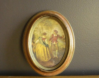 Small Vintage Aged Frame with Old World Illustration - Made in Italy
