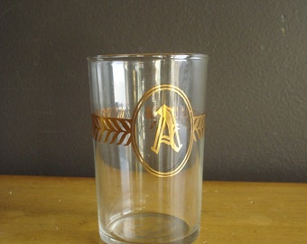 Toast to A - Vintage Gold Monogrammed Glass - Unique Letter A Drinking Glass
