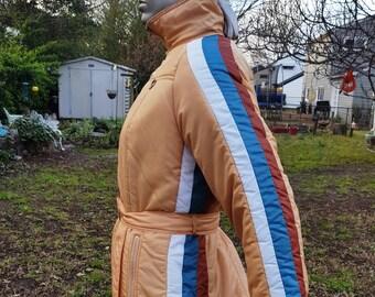 Sale 30% OFF 70s Ski Coat, Vintage Jacket by Amerex, 70s Coat, Vintage Coat with Arm and Side Stripes Size L