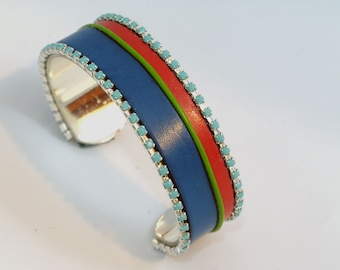 Orange and Blue Leather and Crystal Cuff Bracelet
