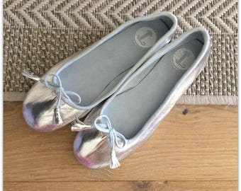 36 Sale size- COCO- LUXE Ballet Flats - Leather Shoes - 36- Silver. SALE Size 36 only