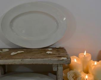 19th Century Large Oval Porcelain Platter(34.5cm x 23.5cm) -  J.Vieillard&Cie 1829-1895 White Ironstone Platter -French Porcelain