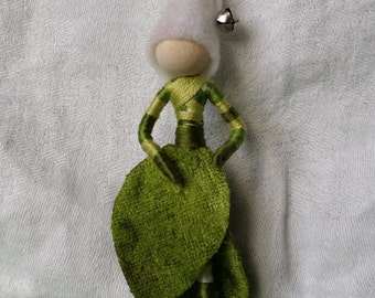 Waldorf Elf - Christmas Fairy,  Green Velvet Poinsettia Art Doll, big, bold striped stockings