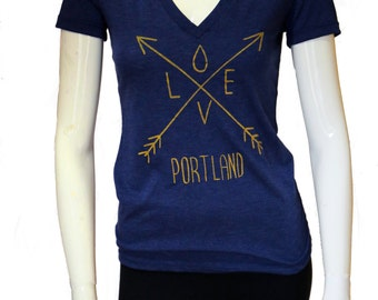 Arrows| Love| Soft lightweight T Shirt| Portland-OR| art by Matley| Hometown tees| Slim fit| Gift for her| Rain drop| Travel tees.