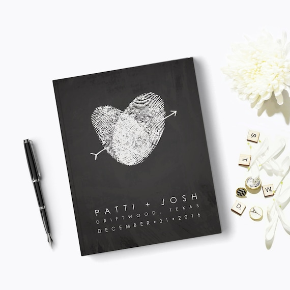 Wedding Guest Book Traditional Hard Cover Wedding GuestBook Thumbprint Heart Wedding Decor Guest Book Chalkboard Style Fingerprint