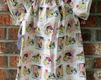 Vintage Paddington Bear Flutter Sleeve Peasant Dress Size 3T Girl's Toddler Party Dress Tunic Ready to Ship