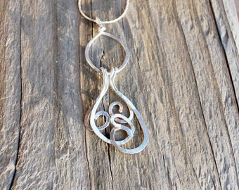 Sterling Silver Pendant Necklace Hammered Wire for Wife Mother Girlfriend Christmas Birthday Anniversary Mother's Day Ready to Ship