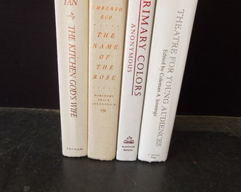 White Cream Book Stack - Decorative Old Books - Book Stack Instant Library Vintage