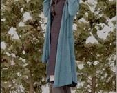 Jacket - Steampunk - Wrap Around Jacket - Hooded Wrap Sweater - Open Jacket - Hooded Jacket - Bohemian - Teal Blue - Size Medium