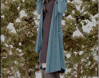 Jacket - Steampunk - Wrap Around Jacket - Hooded Wrap Sweater - Open Jacket - Hooded Jacket - Bohemian - Teal Blue - Size Large