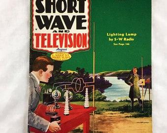1937 Short Wave & Television. Radio Experimenter's Magazine. Vintage Magazine Ephemera. Lighting Lamp by S-W Radio. Short Wave Circulation